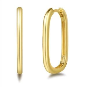 Gold Plated Sterling Silver Rectangle Hoop Earring
